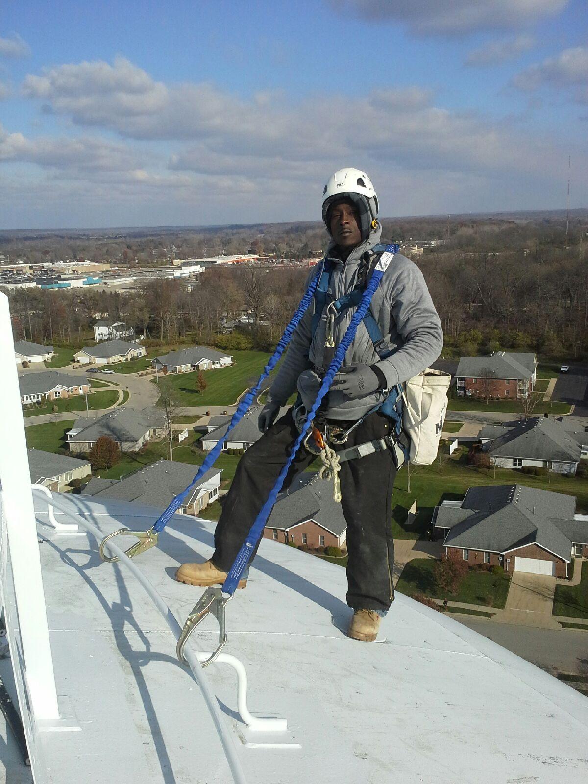 tower climber at work