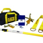 DBI-SALA,First-Man-Up 2104527 Remote Anchor System, 6 to 12' Pole, Tie-Off Adaptor And Snap Hook Installation/Removal Tool, 3' Tie-Off Adaptor, Carrying Bag, Navy/Yellow