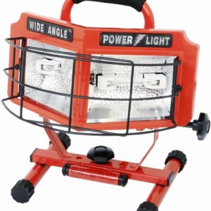Designers Edge L-5200 500-Watt Double Bulb Halogen 160 Degree Wide Angle Surround Portable Worklight, Red
