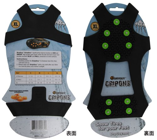 DryGuy GripOns Ice and Snow Traction,Black,Small