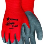 MCR Safety N9680XL Ninja Flex Nylon Shell Gloves with Latex Dip Palm and Fingertips, Gray/Red, X-Large