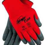 Memphis CN9680L Ninja Flex Gloves, 15 Gauge Red Nylon Shell with Gray Latex Coating, Large