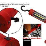 Portable Cordless Rechargeable LED Work Light Work Lamp w/ Hanging Hook, Magnetic Base, Car Charger, UL-listed Power Supply for Workshop, Garage, Camping, Emergency Lighting