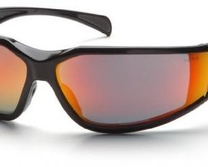 Pyramex Exeter Safety Eyewear, Sky Red Mirror Anti-Fog Lens With Black Frame