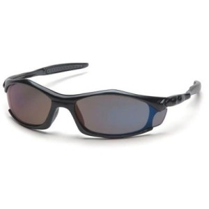 Pyramex Solara Safety Eyewear, Blue Mirror Lens With Black Frame