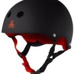 Triple 8 Brainsaver Rubber Helmet with Sweatsaver Liner (Black/Red, Large)